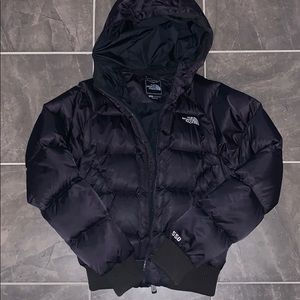 The north face black bomber puffer coat